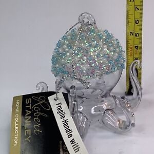 """3"""" Robert Stanley Blown Glass Clear OCTOPUS Ocean sea Theme Ornament NEW W/TAGS"""