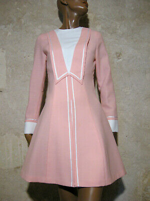 Inventivo Chic Vintage Robe 1960 True Vtg Dress 60s Mod Twiggy Kleid 60er Vestido ( 36/38