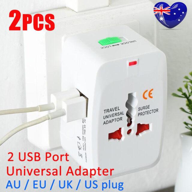 2X World Universal Travel Adapter With USB Convertor Wall Plug Power AU US UK OZ
