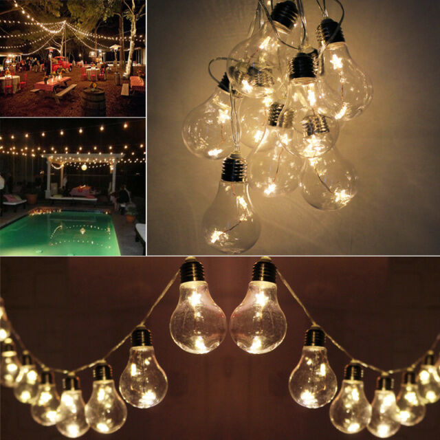 Battery Operated 20 Led Warm White Festoon Bulb Fairy String Garden Party Lights