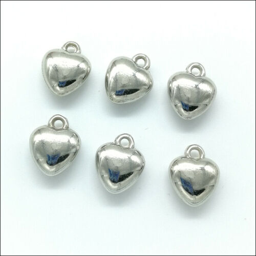 lot Acrylic Heart Antique Silver Charms Pendants for Jewelry Making DIY 20pcs