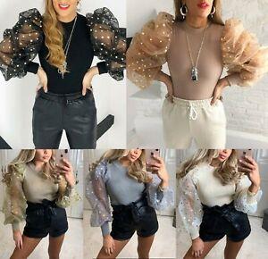 Damen-Feinripp-Metallic-Spot-Tupfen-Sheer-Puff-Armel-Pullover-Bluse-Top