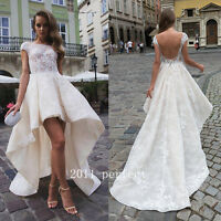 2017 Summer Lace Wedding Dresses White Ivory Hi Lo Backless Bridal Gown Custom