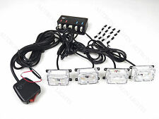 4 LED COB 4In1 Vehicle Flash Strobe Emergency Warn Light Deck Dash Grille Amber