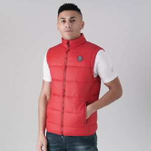 Mens-Crosshatch-Padded-Quilted-Gilet-Jacket-039-Awesleeve-039-Haute-Red