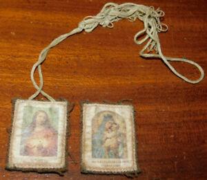 Détails Sur 2 Image Pieuse Jesus Marie Scapulaire Tissu Mater Et Decor Carmeli Ora Pro Nobis