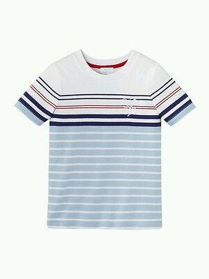 NWT NEW Jacadi boys white blue red stripe tennis tee shirt top 2y or 10y