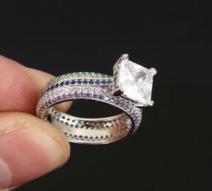 SQUARE-EMERALD-SAPPHIRE-925-SOLID-STERLING-SILVER-RING-SIZE-8-63462