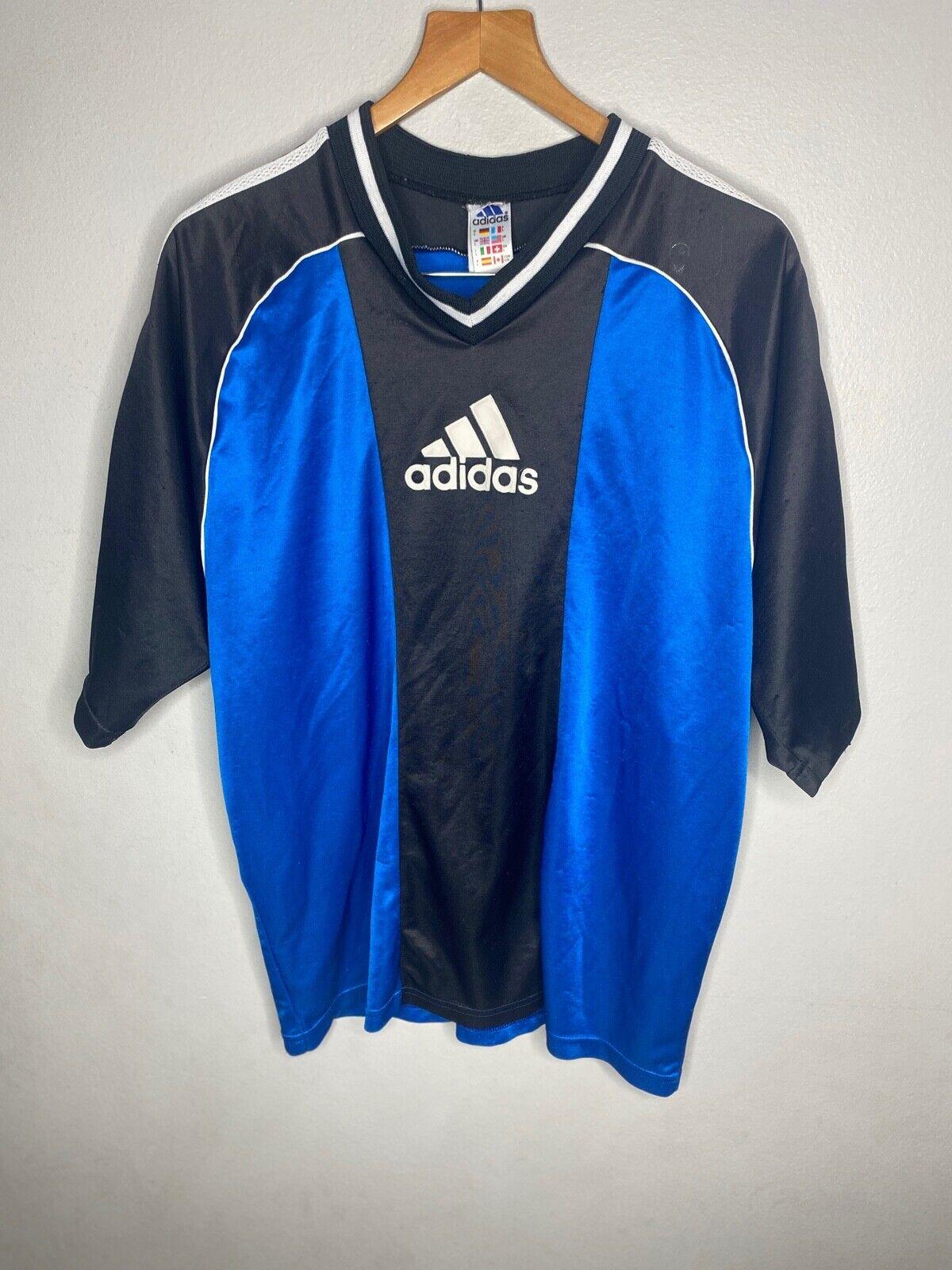 90s Vintage Superstar Adidas Soccer Jersey Size L Men's Short Sleeve (Flaw)