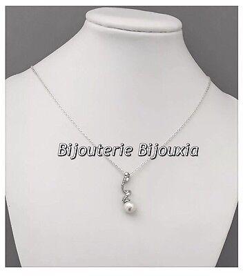 Argent Massif 925//000 Rhodié Bijoux Femme Magnifique Collier Diamand Zirconium