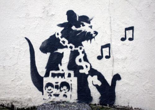 "BANKSY MUSIC RAT NEW A4 CANVAS GICLEE ART PRINT POSTER 11.7/"" x 8.3/"""