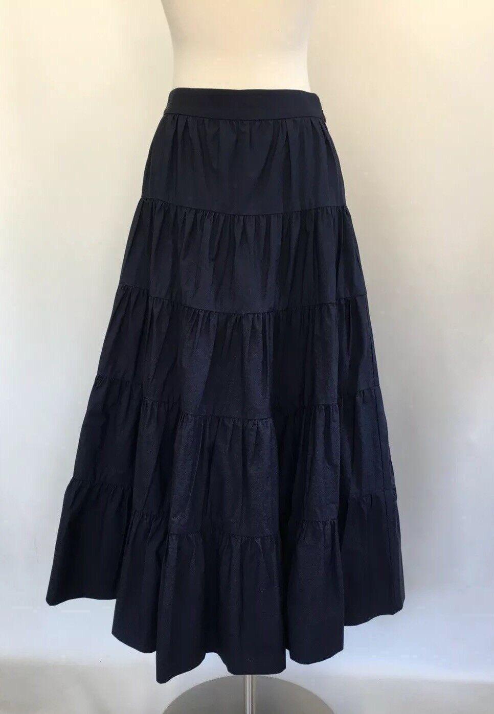 New J Crew Tiered Midi Skirt in Cotton Poplin Navy bluee Sz 00 H7766