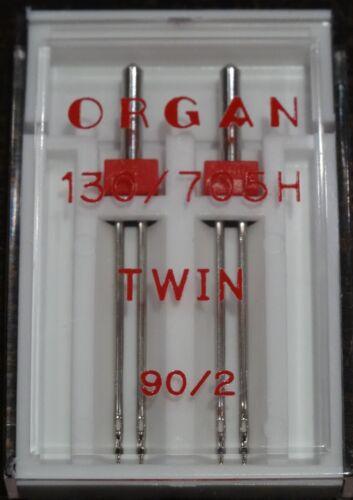 HERMANO Órgano Máquina de coser Agujas Gemelas Tamaño 90//2 funciona en SINGER