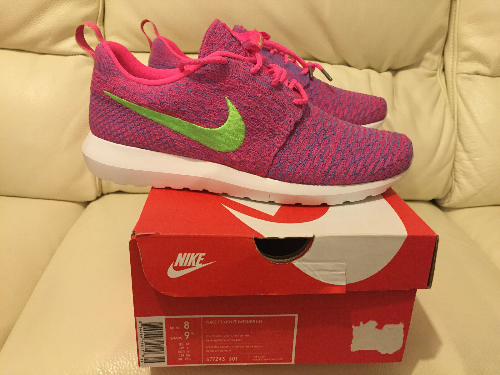 NIKE FLYKNIT ROSHE RUN PINK FLASH SIZES LIME ALL SIZES FLASH UK 7-12 LIMITED EDITION NEW 15837b