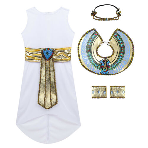 Girls Halloween Party Princess Fancy Dress Kid Role Play Egyptian Costume Outfit