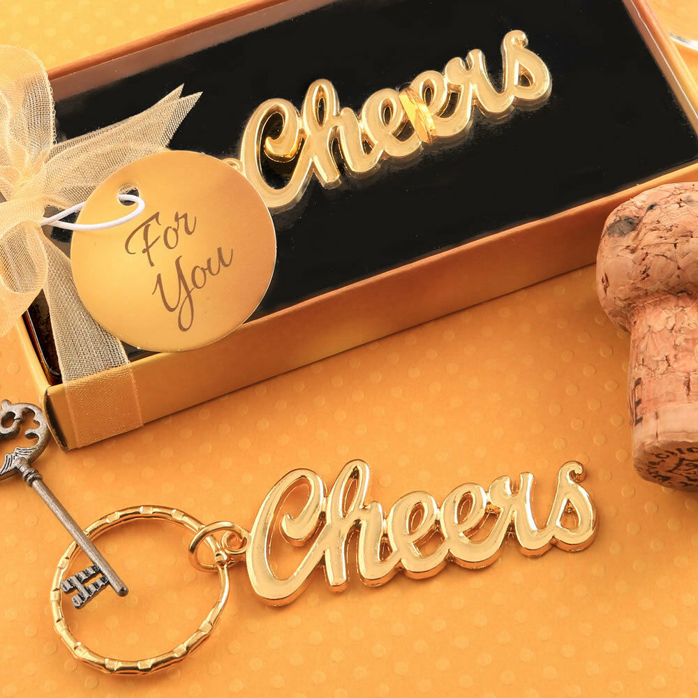 36-144 Gold Metal Cheers Themed Key Chain Wedding Shower Party Favors