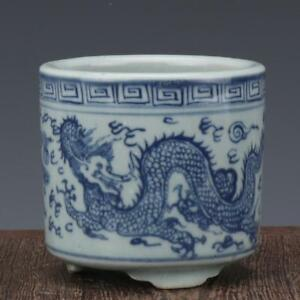 China-antique-Porcelain-Ming-wanli-blue-white-hand-painting-dragon-Pen-container