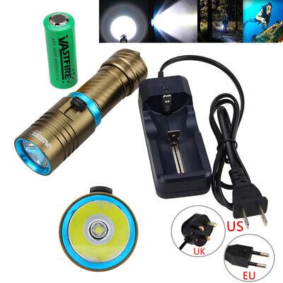 10000Lm 100M Underwater XM-L2 LED Scuba Diving 18650//26650 Flashlight Torch Lamp