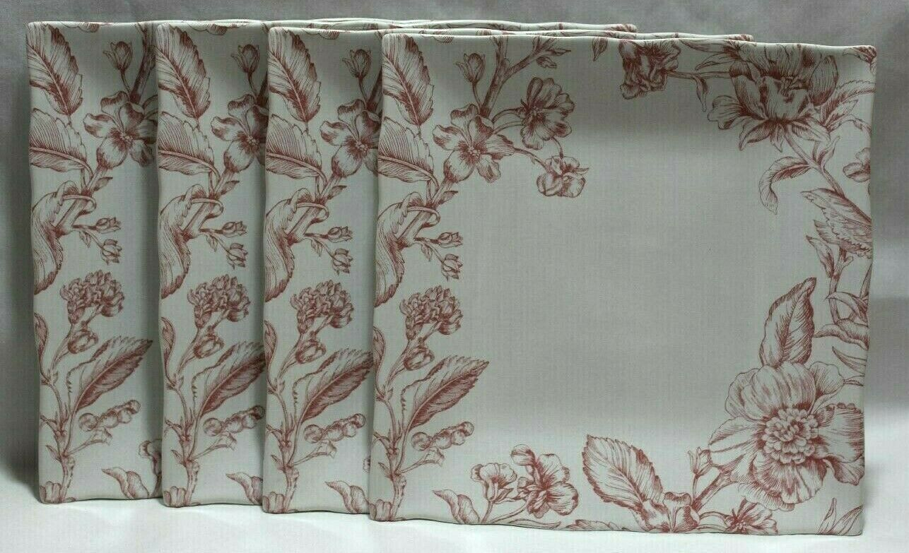 222 Fifth lunettes rose toile Paques porcelaine 10  Square Dinner Plate Set 4 NEUF