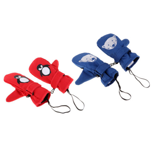 2pcs Age 2-5 Boys Girls Ski Mittens Kids Thermal Waterproof Skiing Gloves