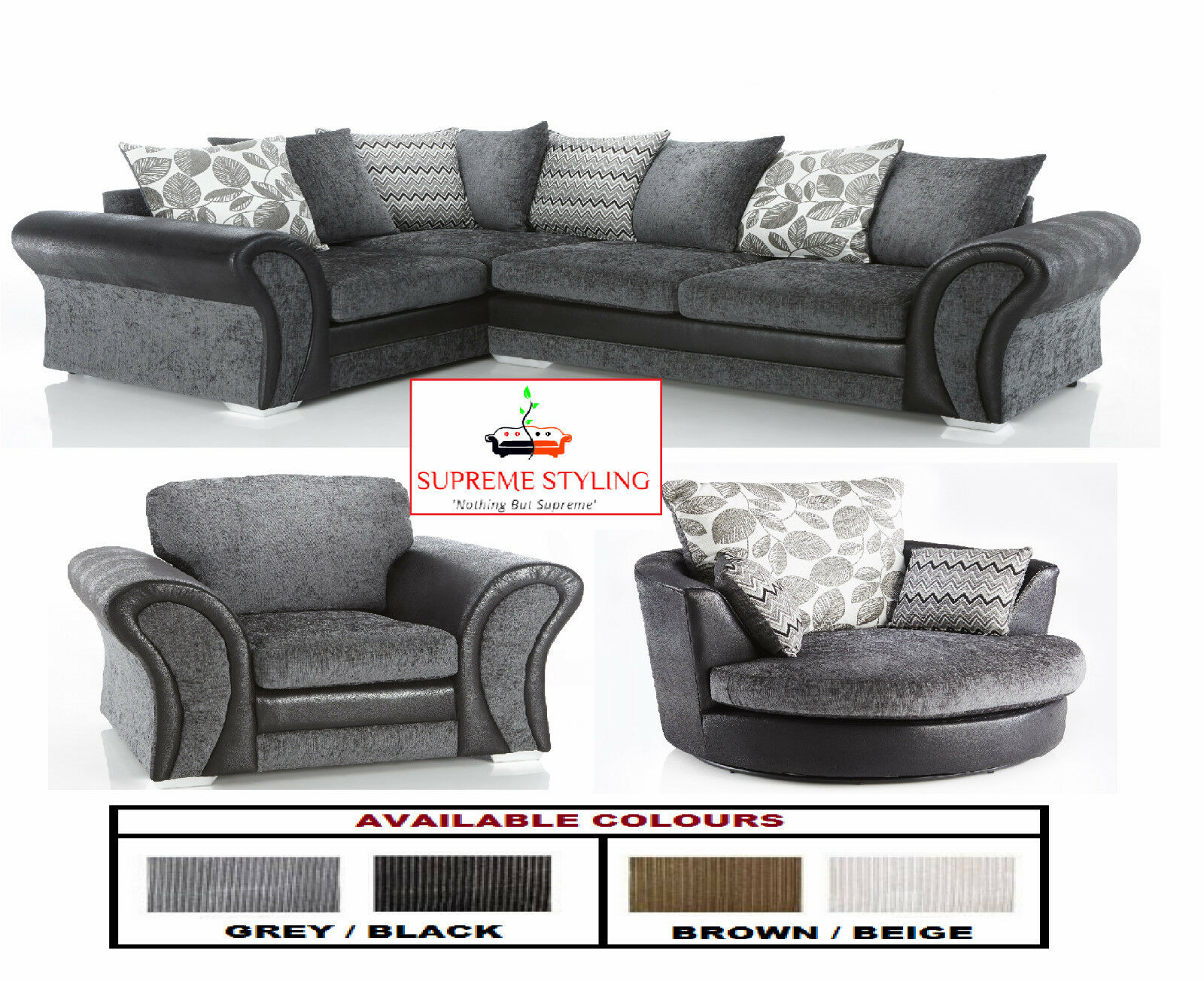 Brand New Starlet Corner Sofa Suite Cuddle Swivel Arm Chair Black Grey Brown Uk