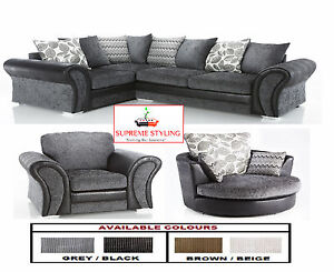 BRAND NEW STARLET CORNER SOFA SUITE CUDDLE SWIVEL ARM CHAIR BLACK ...