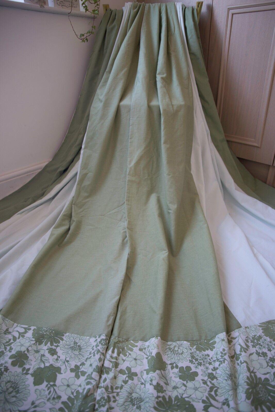 Fatto a mano tende cotone verde, 58WX77D, Menta, cetriolini, Floreale, anello superiore, VINTAGE, MTM