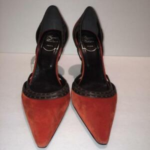 Roger-Vivier-New-800-Pointy-Toe-Suede-Leather-Pumps-Size-37EU-6-5US