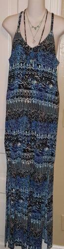 ~NWT WOMENS LUCKY BRAND medium SMALL LONG MAXI DRESS~WATERCOLOR BLUE 7WDL195