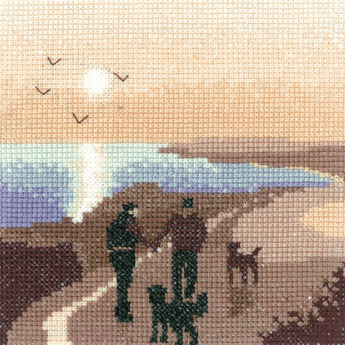 Dogs Heritage Crafts Cross Stitch Kit Morning Walk Silhouettes