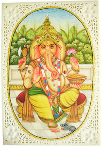 Indisches-Gemaelde-GANESHA-Miniaturmalerei-Moghul-Art-Lupenmalerei-10x15-cm-India