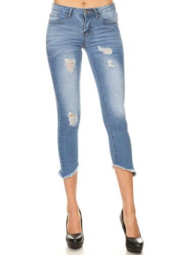 Skinny Jeans ~  Juniors ~ Frayed Hem ~ Cropped ~ High Waist