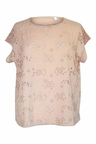 D3 The White Company Womens Cappuchino Pink Brodierie Anglais Linen Summer Top