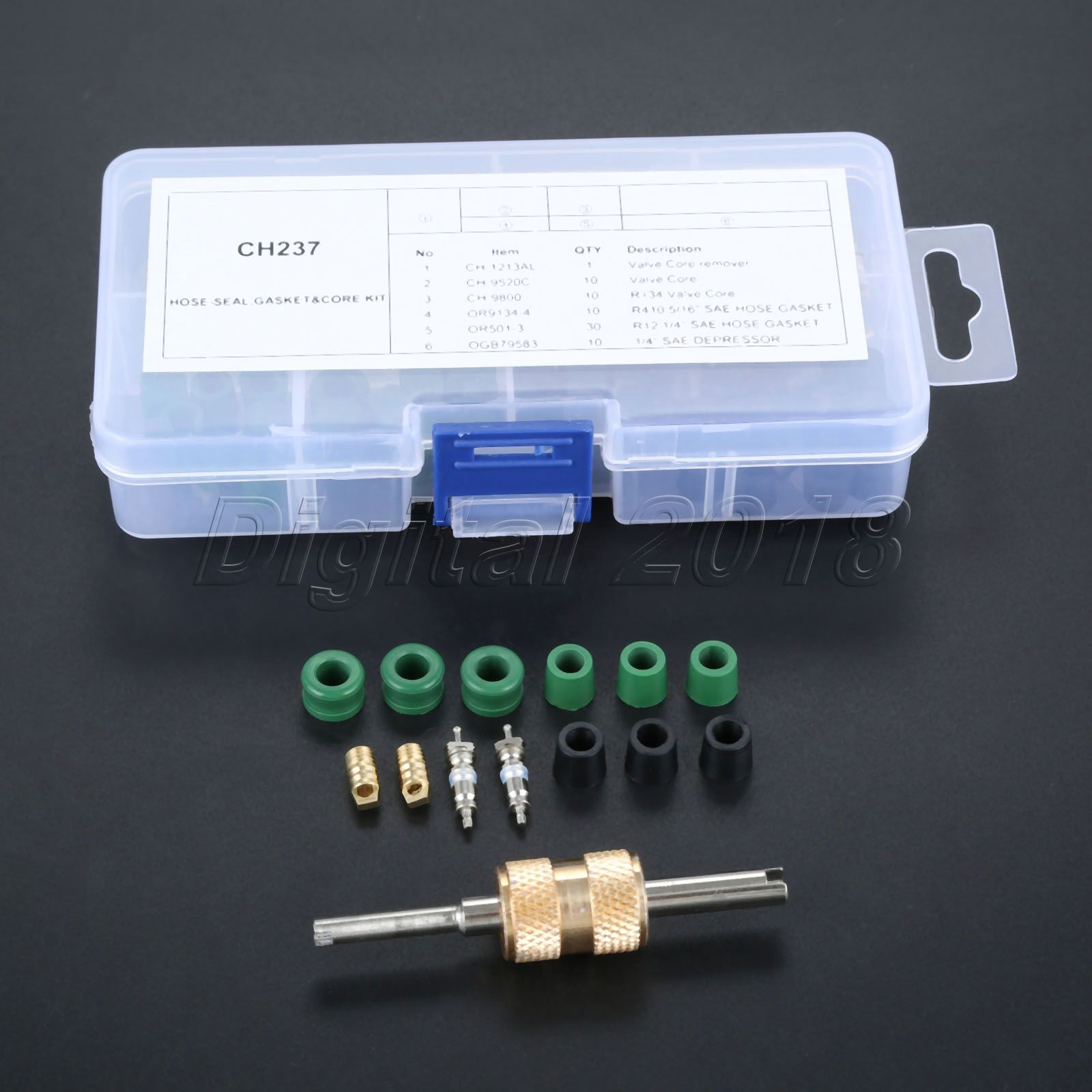 Air Conditioning Removal Tool Kit,Bore Valve Key Tools 71pcs Air Condition Repair Kit Repair Tool+10pcs Valve Cores with 50pcs Hose Gaskets+10pc Valves