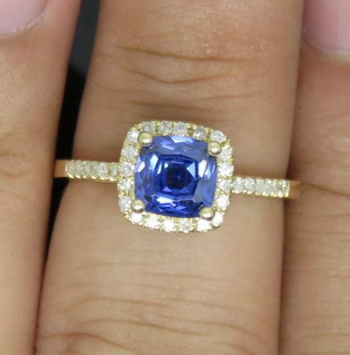 1.65CT Natural blueee Tanzanite & EGL Certified Diamond Ring In 14KT Yellow gold