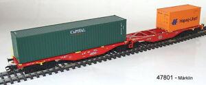 MÄRKLIN 47801 Doppel-Containertragwagen Sggrss 80 DB AG beladen #NEU in OVP#