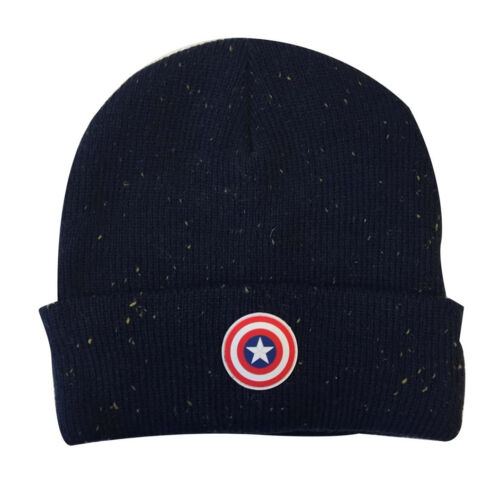 NEW CAPTAIN AMERICA RUBBER SHIELD SYMBOL BEANIE HAT OFFICIAL MARVEL COMICS