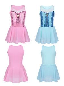 Kids-Girls-Sequind-Princess-Ballet-Dance-Dress-Fancy-Costume-Dancewear-Gym-Skirt