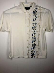 Vintage-Mens-white-Munsingwear-Grand-Slam-penguin-Hawai-theme-Golf-Polo-Shirt-Bu