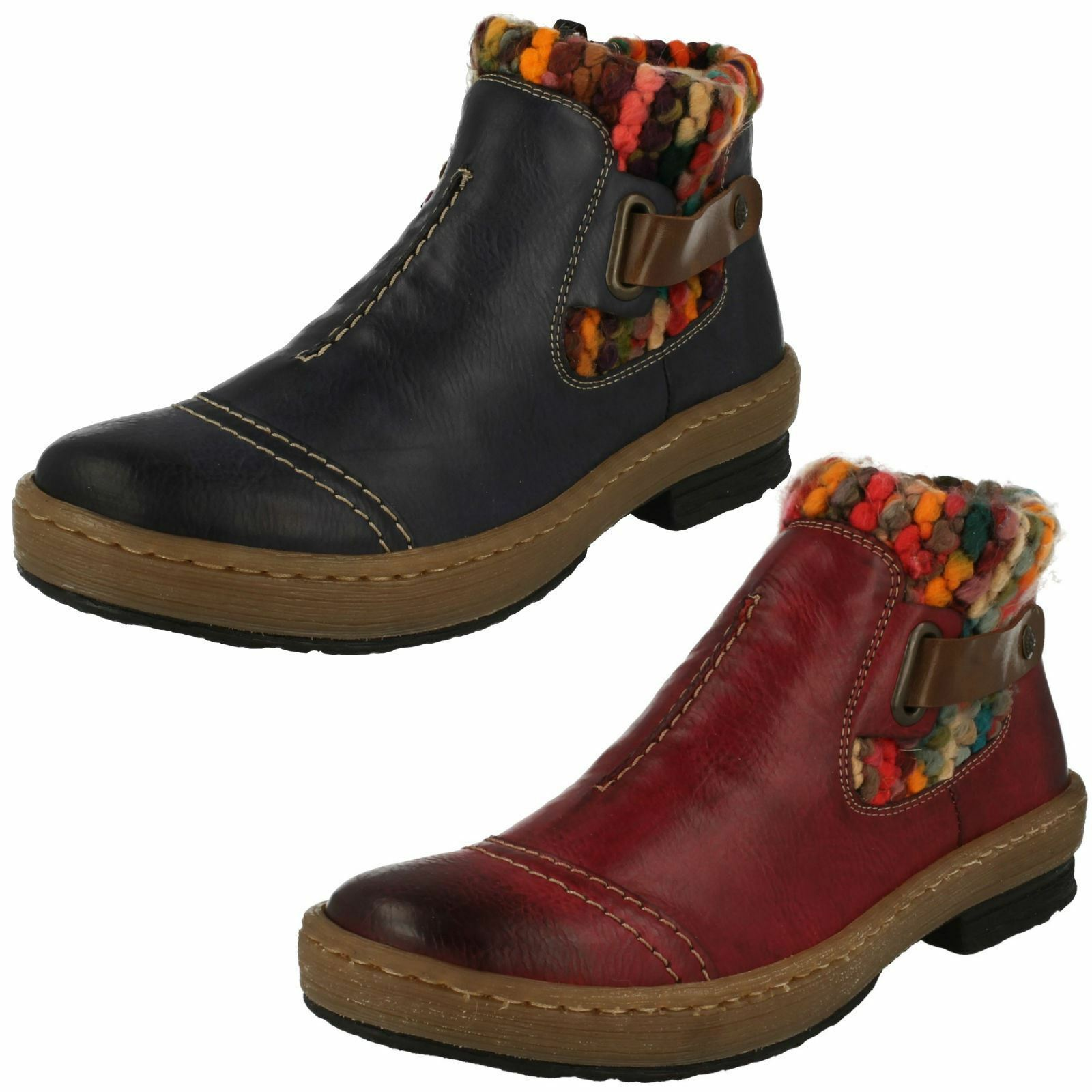 Ladies Rieker Z6784 Red Or Blue Casual Warm Lambs Wool Lined Ankle Boots