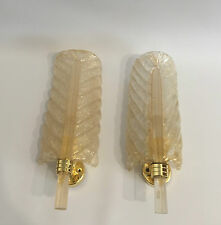 Pair Glass Leaf Design Sconce Barovier & Toso Murano 60s 70s Wandlampen ++