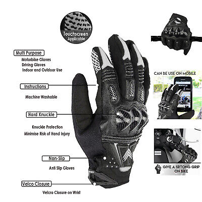 Hard Knuckle Leather All Weather Motorbike Motorcycle Gloves Carbon Fiber Gloves Ebay