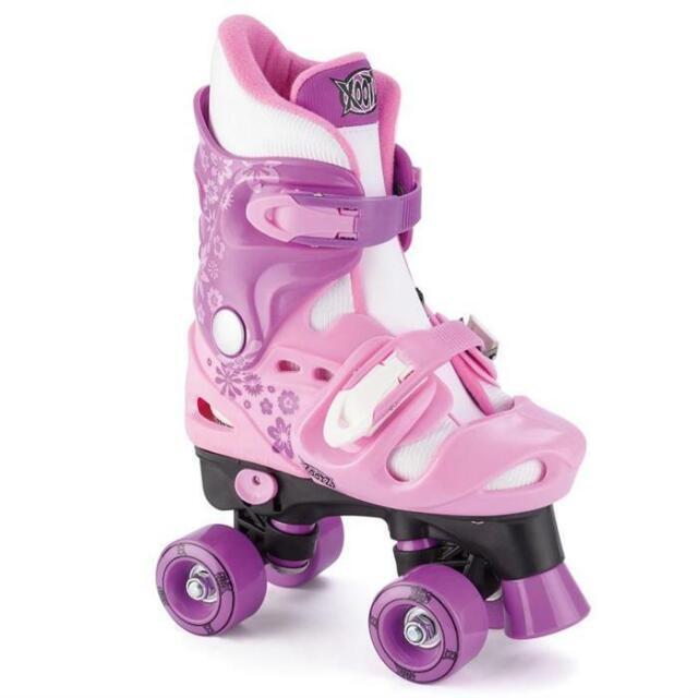 Xootz Kids Quad Roller Skates Boy Girl Adjustable 10-12 13-3 3-5 Pink Blue