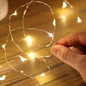 Mikro-LED-Lichterkette-Warmweiss-20-Leuchten-Wasserdicht-110cm-Deko-Licht-Neu