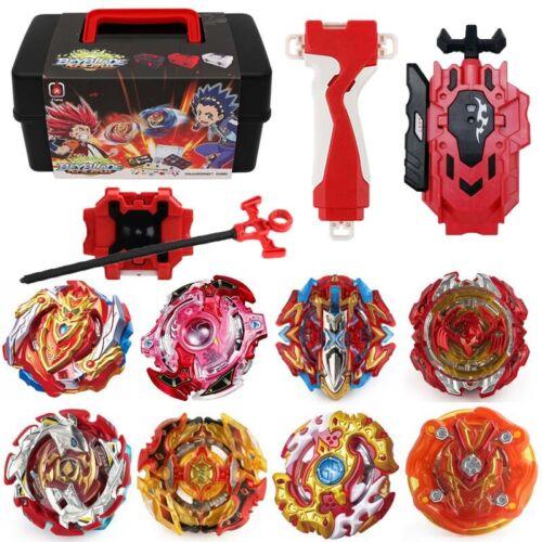 8x Beyblade Burst w// L-R Launcher Grip Portable Storage Box Set Gift Starter Top