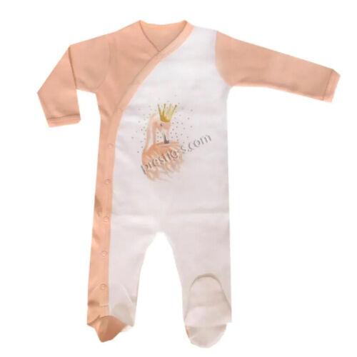 Baby Strampler Overall Schwan Krone Langarm Baumwolle Weiß Spielanzug Bodys
