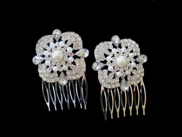 Vintage Inspired Bridal Rhinestone Small Veil Hair Combs set of 2 with pearls
