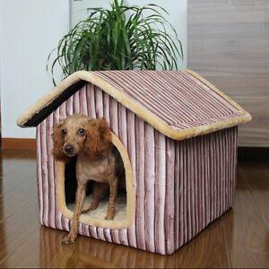 new indoor wood grain pet dog cat house beds kennel gabardine size m l xl ebay. Black Bedroom Furniture Sets. Home Design Ideas