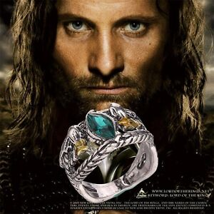 Green Jade Tibetan Silver Lord of Rings Aragorn's Ring, Birthday Gift Size 8,10,
