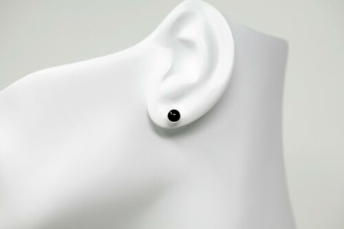 Black Onyx and Polished Sterling Silver 5mm Stud Earrings